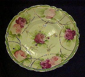 Hand painted Nippon rose plate with gold beading