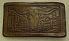 Leather belt buckle, longhorn steer cactus and fences