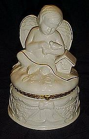 Large  porcelain angel trinket / jewelry box