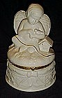 Large  porcelain angel trinket / jewelry box