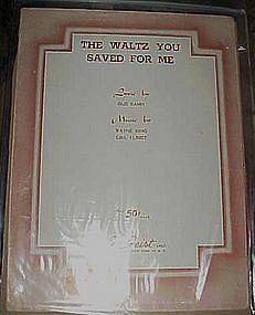 The waltz you saved for me, Gus kahn,  vintage 1930
