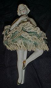 Large Dresden style porcelain Ballerina for music box