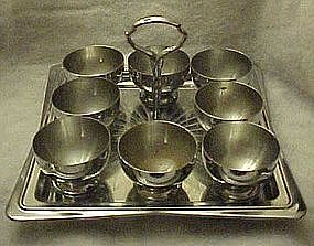Retro Chase Chrome Bar tray with 8 drink cups