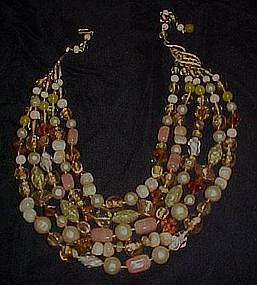 Vintage  yellow 5 strand art glass beads necklace