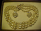 Vintage crystal and pearl 3 strand necklace