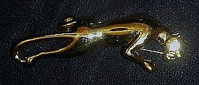 Wonderful sleek gold Panther pin by Carolee