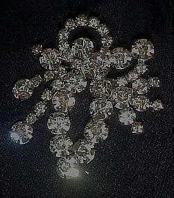 Large vintage rhinestone pin with dangle movement