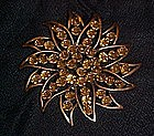 Large copper rhinestone sunflower pin
