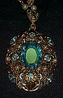 Large vintage filigree pendant with topaz rhinestone