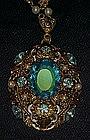 Large vintage filigree pendant with topaz rhinestone