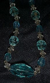 Vintage  blue aqua cut glass beads necklace
