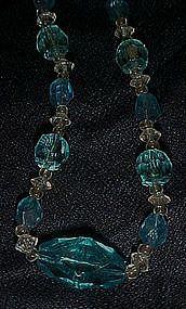 Vintage  blue aqua cut glass beads necklace
