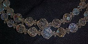 Vintage  double aurora borealis crystal beads necklace