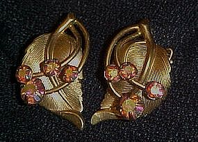Vintage gold tone leaf earrings with aurora rhinestones