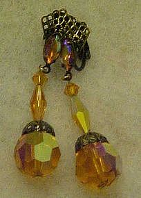 Exquisite amber aurora dangle earringins by Lewis Segal