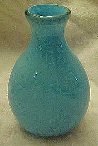 Hand blown blue cased glass vase