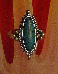 Vintage Uncas faux turquoise adjustable ring