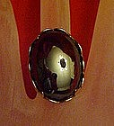 Vintage Hemotite cabochon ring, adjustable, silvertone