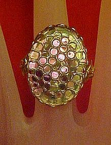 Vintage sparkley large colorful ring