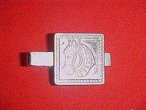 Vintage Swank silver  western horse head tie clip
