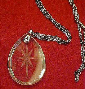 Hallmark Austrian crystal pendant, intaglio star center