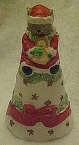 Porcelain Santa kitty Christmas bell