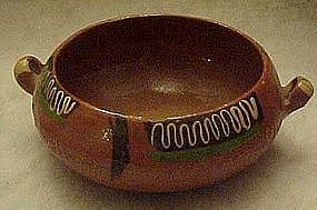 Vintage hand painted clay pottery casserole Mexico