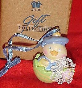 Avon Easter chick in a shell pvc ornament