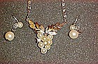 Avon Grape cluster pearl necklace and earring set