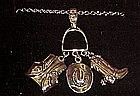 Avon Western Round-up silver charm pendant