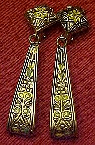 Vintage Damascene loop style earrings
