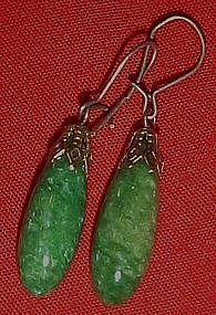 Vintage Jade drop  pierced earrings