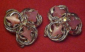 Unmarked fancy thermoplastic clip earrings