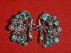 Vintage  aqua rhinestone earrings, signed STAR