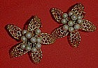 Vintage Judy Lee earrings, filigree petals  or starfish