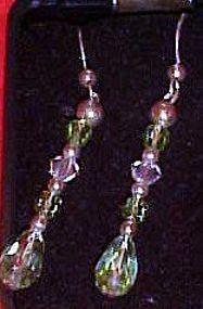Blue aurora crystal dangle  pierced earrings