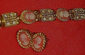Cameo bracelet and matching post earrings