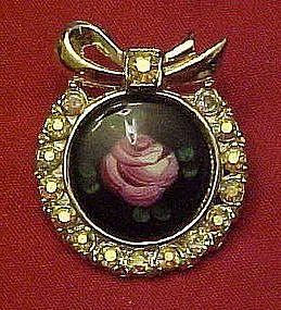 Vintage rhinestone wreath , enamel rose center