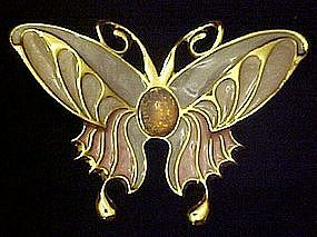 Enameled butterfly pin with opal center. New on card