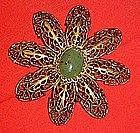Large vintage filigree flower pin with jade center