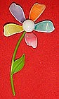Retro Sixties multi color enamel daisy pin
