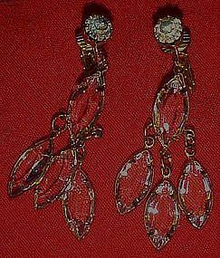 Crystal Marquis Cascade earrings, clip backs