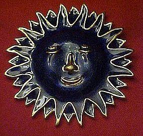Celestial sun face,  cobalt enamel pin