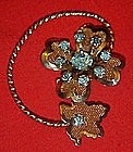 Vintage gold tone mesh flower and leaf pin, topaz blue