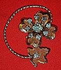 Vintage gold tone mesh flower and leaf pin, topaz blue