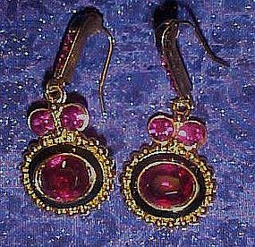 Fuschia rhinestone earrings, pierced