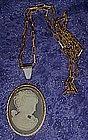 Costume faux Cameo necklace / pendant