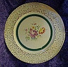 Knowles china dinner plate, floral center,green band