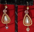 Large pearl dangle earrings with crystal beads, pierced