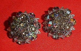 Laguna smoky blue aurora crystal button clip earrings